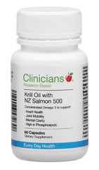 Clinicians Krill Oil with NZ Salmon 500 60 capsules