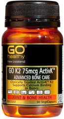 Go Healthy GO K2 75mcg ACTIVK™ 75mcg ADVANCED BONE CARE 30 capsules