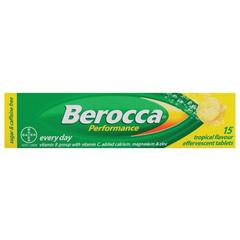BEROCCA PERFORMANCE EFFERVESCENT TABLETS TROPICAL 15