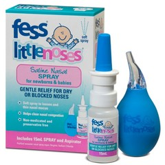 Fess Little Noses Saline Spray For Newborns & Babies 15ml Spray and Aspirator