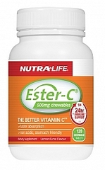 NutraLife Ester C 500mg Lemon Lime Chews Tabs 120s